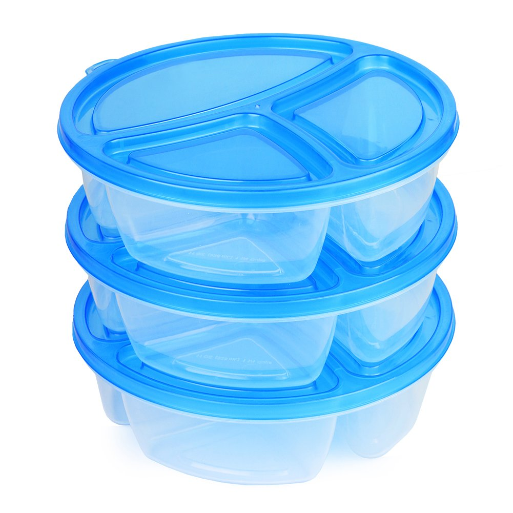 Amazon.com (3 Pack) 3 Compartment Microwavable Food Container with Lid / Reusable Divided Plate Bento Box Microwave Safe Sectional Lunch Tray with Cover ...  sc 1 st  Amazon.com : sectional lunch boxes - Sectionals, Sofas & Couches