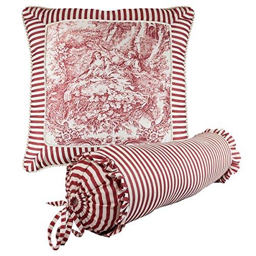 Sherry Kline Elizabethan Red Toile Print Combo Throw Pillow (Set of 2) Toile Neckroll