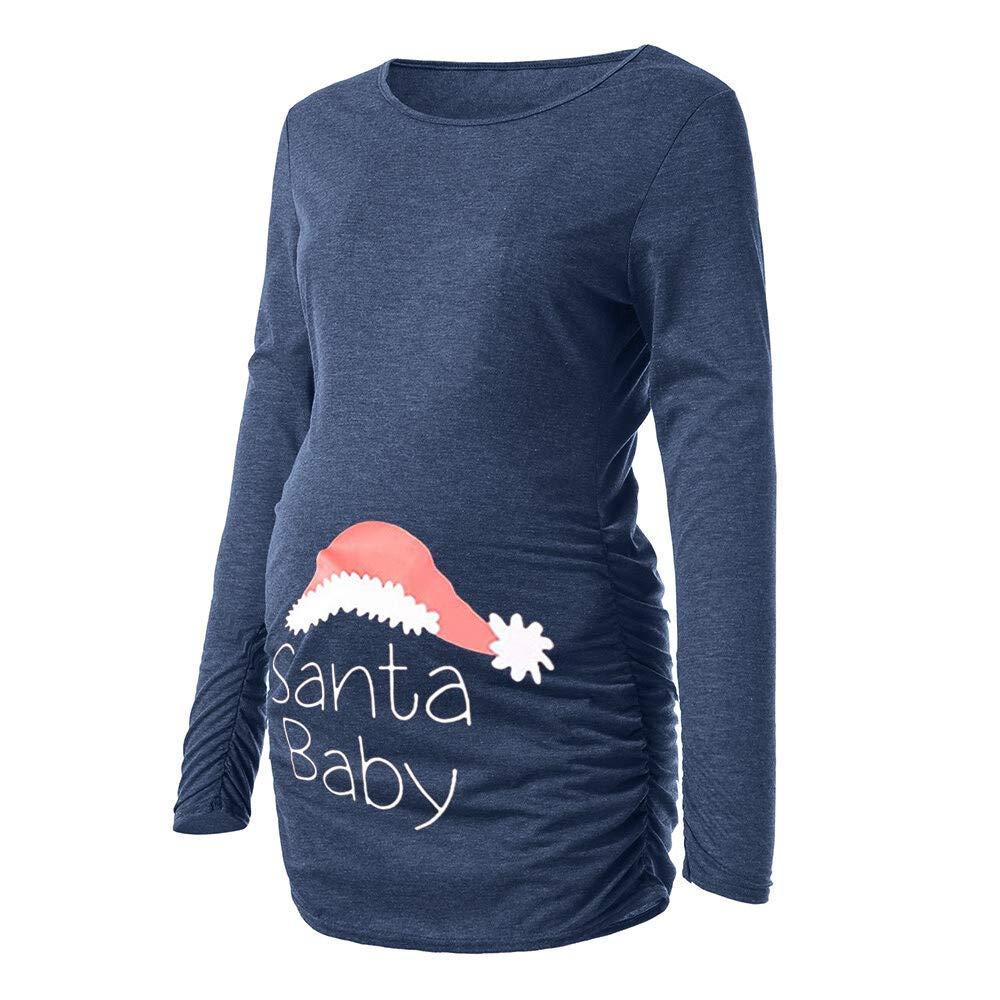 Damen Umstandsmode Weihnachten Still-Unterhemd Rundhals Stillshirt Stilltop Umstandsshirt Schwangerschaftskleidung mit Weihnachten Drucken, Schwarz Grau Rot Blau Pink Dunkelgrau. Saihui ❇ Weich und bequem Umstandsmode❇ ❇