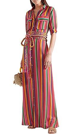 Damen Mode Gestreifte Lose Rundhals Kurzarm Vintage Langes Maxi-Kleid Oversize