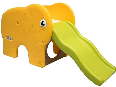Littletom Scivolo A Forma Di Elefante 153x50x73cm Ondulato Per Bambini Piccoli A Partire Da 1 Anno Giallo Verde