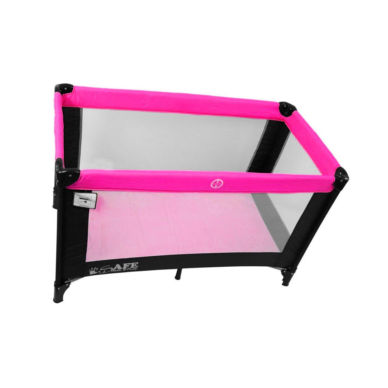 iSafe Rest /& Play Luxury Travel Cot//Playpen Black//Pink Raspberry 120 cm x 60 cm