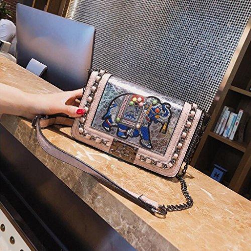 Las Remache Manera de Bolso Cuadrado de de Desconocido Hombro de Bolso Diagonal Mensajero Paquete Bolso de Bolsa la del pequeño Cadena del Bolso Mujeres x8zpg