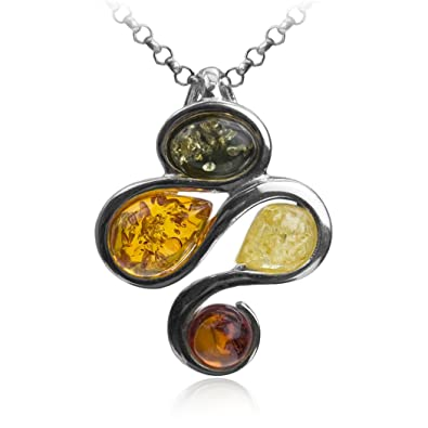 Amber Sterling Silver Sun Pendant Necklace Chain 46 cm