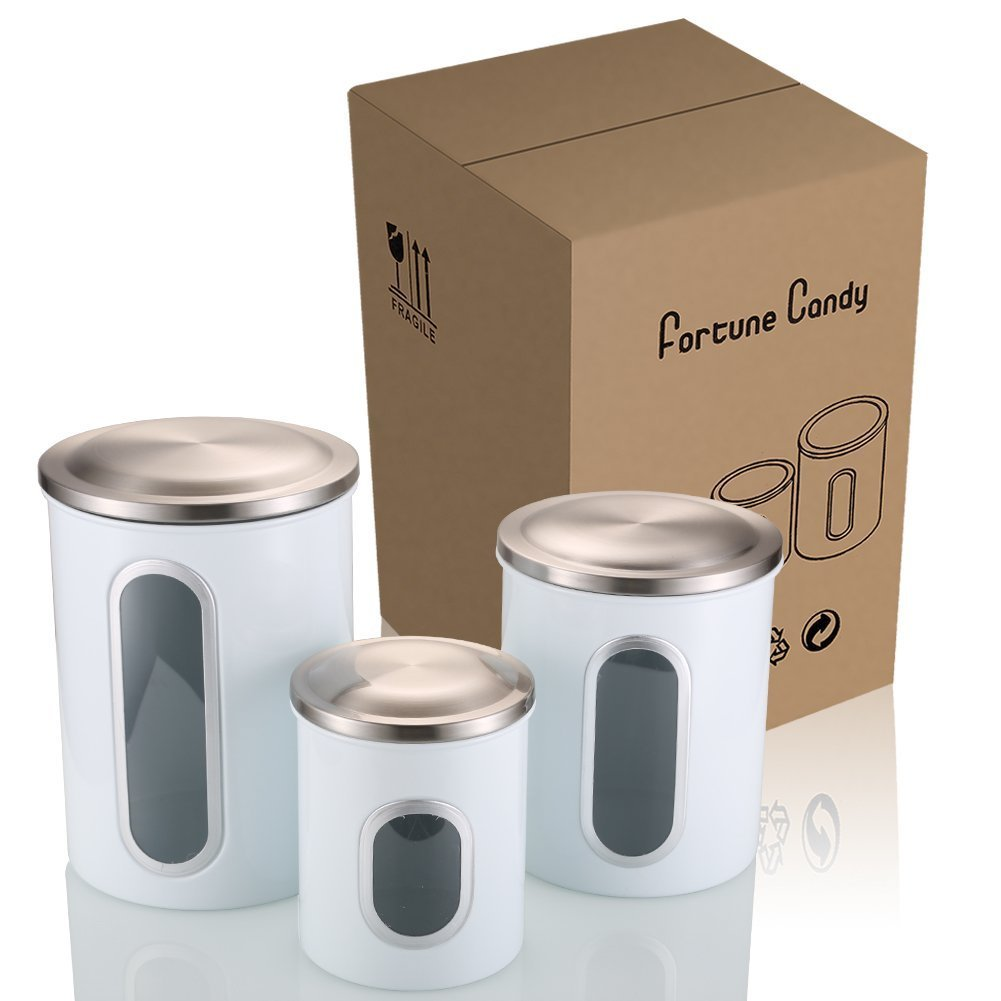 FC Airtight Window Kitchen Canister, Stainless Steel Canisters Sets with Fingerprint Resistance Lid, Cereal Container Set of 3 (White)