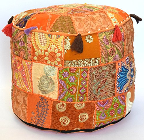 Americana decor's Bohemian Patchwork Ottoman Cover vintage Traditional indian pouf cover ''14x22'' cotton decorative chair ''Filler Not Inculded'' (Orange)