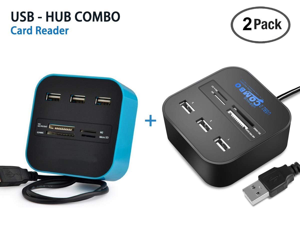 2 Pack LLP All in One SD Card Reader, USB Combo Hub Reader with 3 Ports for Charging & Reading Flash Drive, Camera Memory Card Reader for MS/MS PRO Duo SD/MMC M2 Micro SD/TF Cards on Laptop(BK+BL)