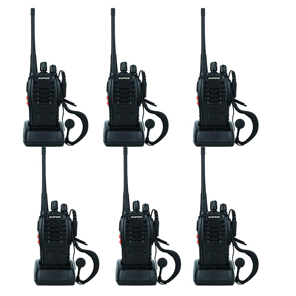 BaoFeng Two Way Radio BF-888S 1500mAh 16 Channel Handheld Walkie Talkie Black (6 Pack) by BAOFENG