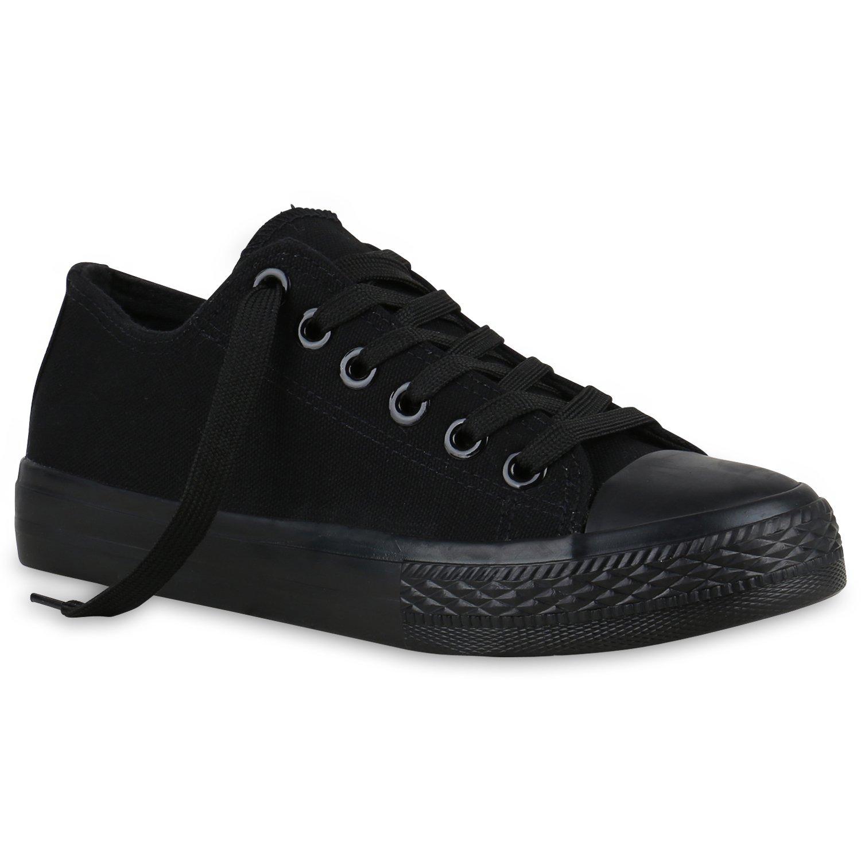 Stiefelparadies Sneaker Unisex Damen Herren Sneaker Stiefelparadies Low Übergrößen Flandell Schwarz 7762ee