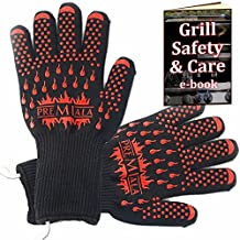Premiala BBQ Gloves 35cm - EN407-certified 932F Extreme Heat Resistant Kevlar with Cotton Liner - Insulated High Temperature Mitt, Best for Cooking, Barbecue, Baking, Grilling, Charcoal, Smoking with Long Cuff (Large)
