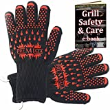 "Amazing BBQ Gloves 14"" can stay on while BBQ'ing for perfectly timed cooking - 2 sizes available! EN407-rated Kevlar 932F protection, best for baking, ovens, preserving! (Large)"