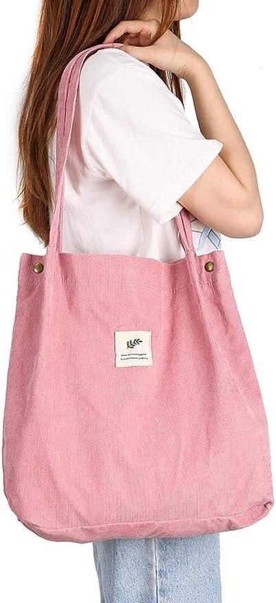 JISEN - Bolso de mano/de hombro con bolsillo interior reutilizable para mujeres y niñas