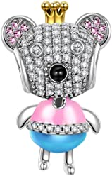 NINAQUEEN Princess Bear 925 Sterling Silver Bead for women, Elegant Gift Box, Nickel Free Passed SGS