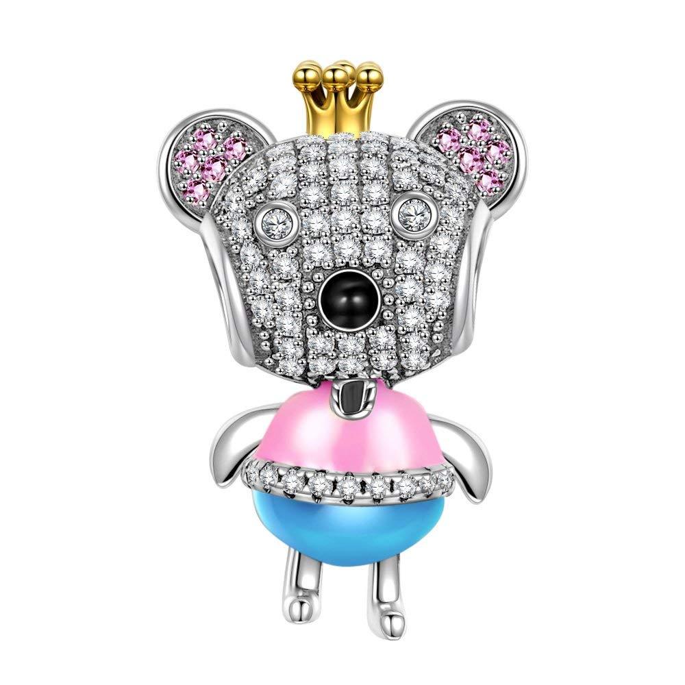 NINAQUEEN Ours princesse Perle attraits Charm pour femme argent 925, Livré dans Une Boîte Cadeau Bijoux, Test Sgs Passé sans Nickel, sans Allergène NQC5659BB-XJ