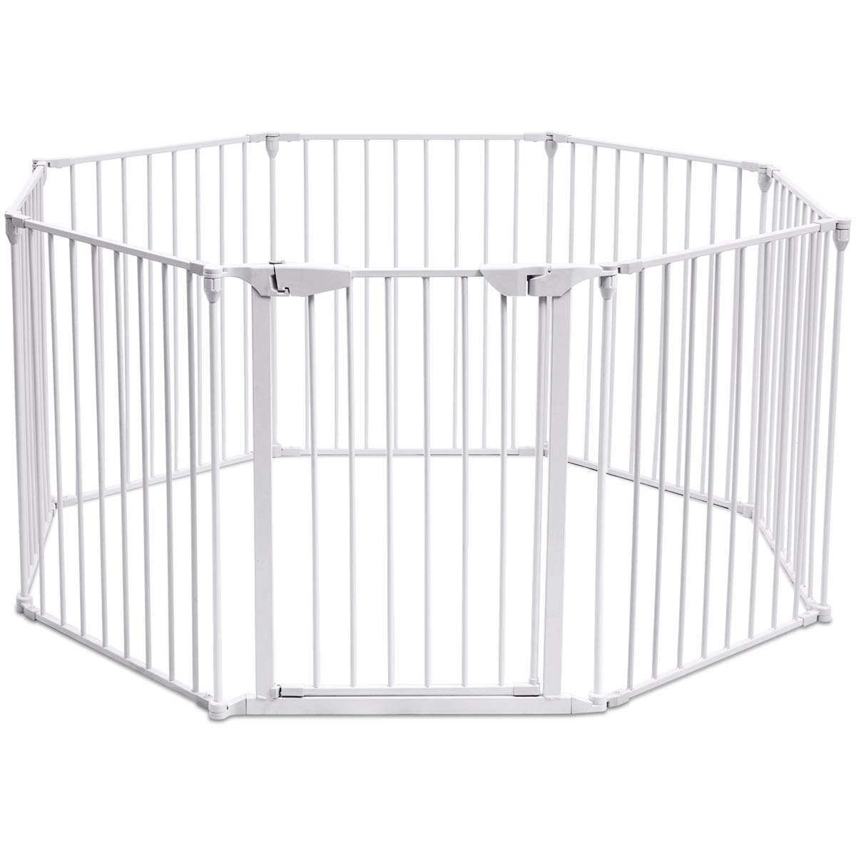 Costzon Baby Safety Gate, 3-in-1 Fireplace Fence, Wide Barrier Gate with Walk-Through Door in Two Directions, Wall-Mount Metal Gate for Pet & Child (Plastic, 8-Panel)