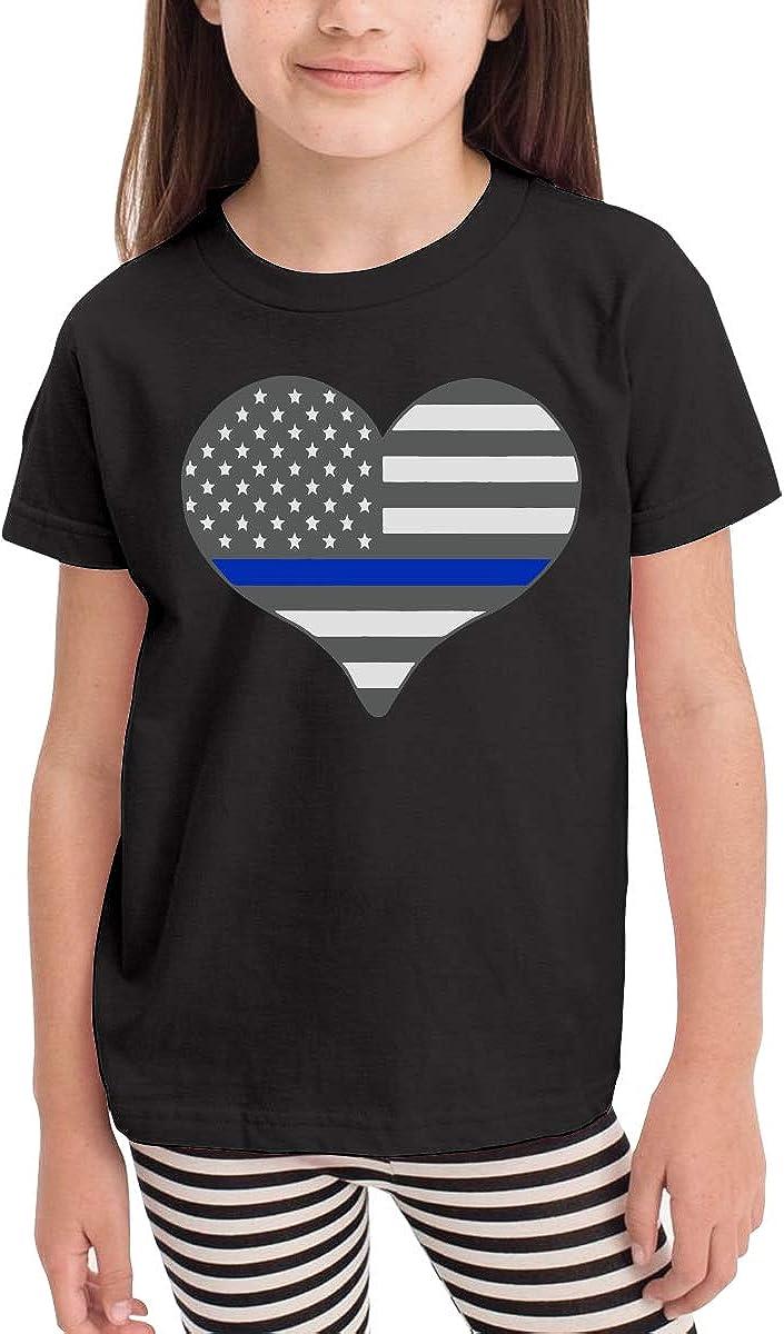 Baby Girls Little Boys I Love Police Thin Blue Line Cute Short Sleeve Tee Shirt Size 2-6