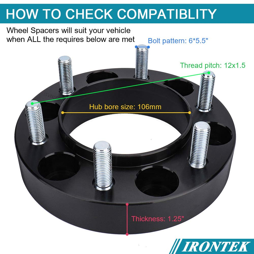 IRONTEK 1.25 Thickness 6x5.5 Hub Centric 6x139.7mm to 6x139.7mm Wheel Spacers 106mm 12x1.5 Fits Toyota 96-17 4-Runner 01-07 Sequoia,07-14 FJ Cruiser 01-17 Tacoma 6 Lug Hubcentric 00-06 Tundra