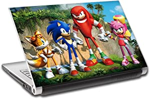 """Sonic Tails Knuckles Personalized LAPTOP Skin Vinyl Decal Sticker WITH NAME L108-10"""""""