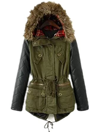 Women Winter Warm Faux Leather Sleeves Hoodie Parka Jacket Coat ...