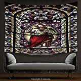 House Decor Tapestry Sacred Heart of Jesus Pictures Decoration Catholic Gifts Believe Art Christian Decor Church Cathedral Window View Silky Red Black White Blue Wall Hanging for Bedroom Living