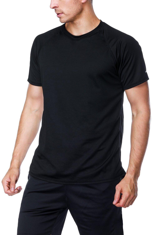 Charmo Male Rash Guard Swim top Loose fit Swim Shirt UPF 50 Sun Suit surf top Black M by Charmo
