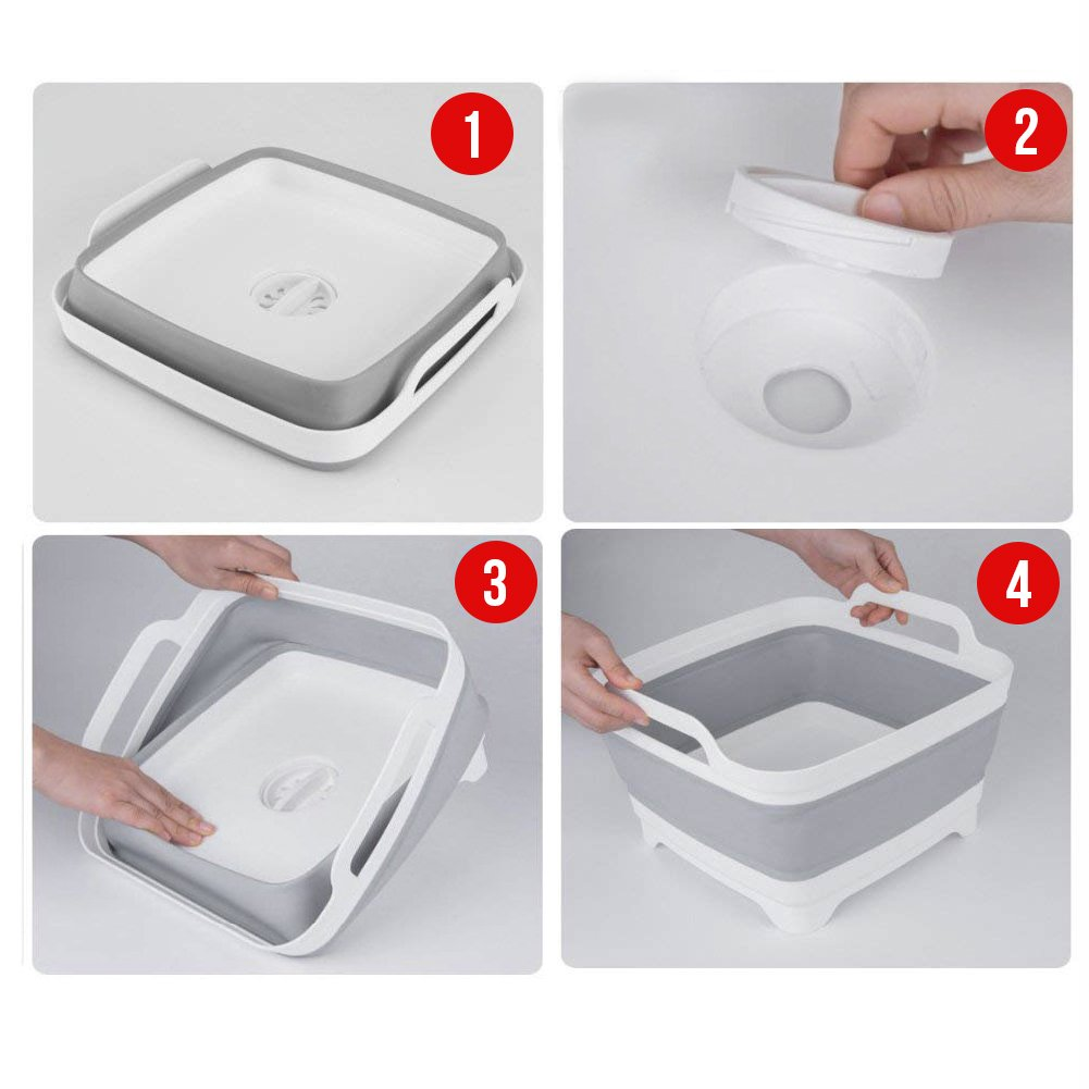 Dish Tub, Yummy Sam Foldable Food Strainers Collapsible Dish Tub DishPan Colander Over the Sink Dish Drainer Strainer, Fruits Drainer Basket Vegetable Sink Colander Draining Basket by Yummy Sam (Image #5)