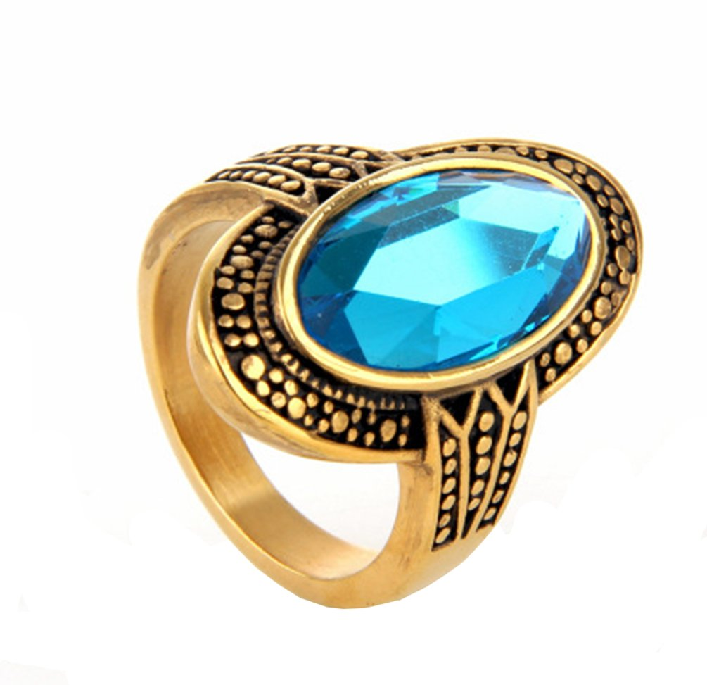 PAMTIER Women's Stainless Steel Natural Oval Glass Crystal Blue Gemstone Ring Gold Size 9