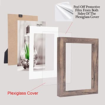 Teak Effect 6x8 Photo Picture Frame Mount 3.75x5.75 Free Standing