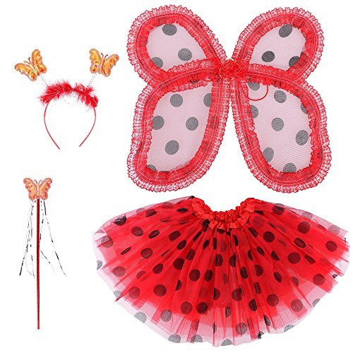 Spooktacular Fairy Princess Wings Tutu Wand Headband Set