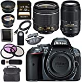Nikon D5300 DSLR Camera with AF-P 18-55mm VR Lens (Grey) 55-300mm f/4.5-5.6G ED VR Lens + Sony 128GB SDXC Card + Carrying Case Bundle