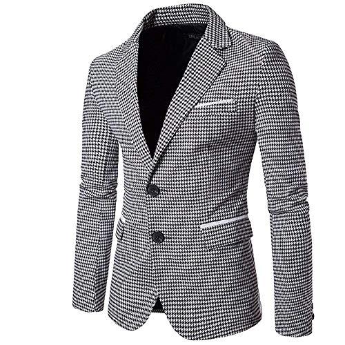 Mens Slim Fit Suit Single Breasted Wedding Suit Jacket Houndstooth Blazer (Black-White, Large)