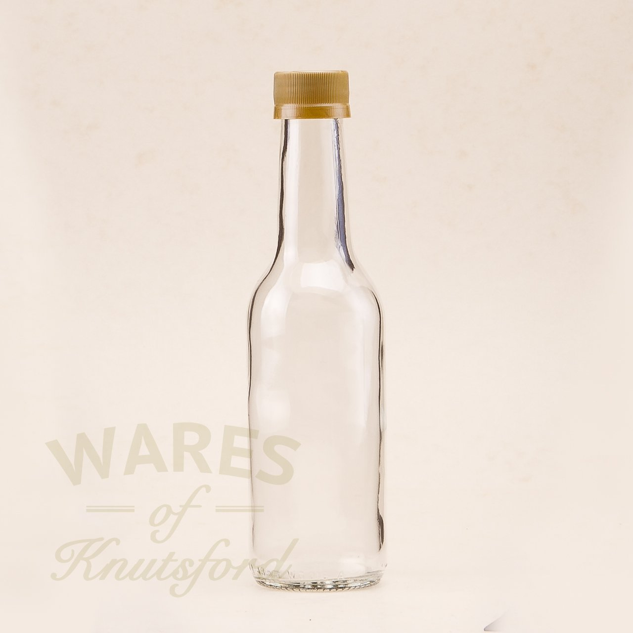 250ml Glass Bottles - Pack of 6 - Gold Caps - ideal for mineral water, cordials, juices etc. Wares of Knutsford