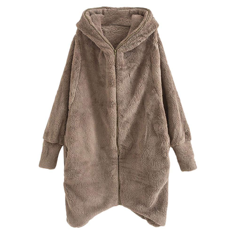 SUCES Damen Hoodie Winter Einfarbig Reißverschluss Taschen Mantel Frauen Lang Fleece Outwear Stilvoll Kapuzenjacke Warm Beiläufige Retro Oversize Strickjacke
