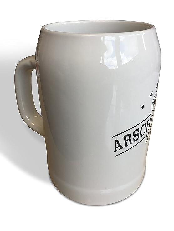 Bierkrug 0,5 Liter Arschlecken 350 aus Steingut