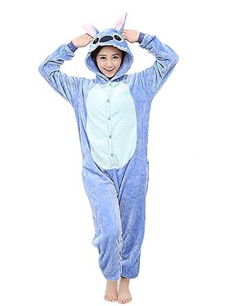 bb941bc081bb Amazon.com  Yimidear Unisex Adult Pajamas Cosplay Costume Animal Onesie  Sleepwear Blue Stitch  Clothing