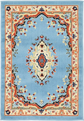 Unique Loom Reza Collection Classic  Traditional Light Blue Area Rug (2' 2 x 3' 0)