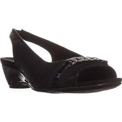 39f6695021de6 Anne Klein Womens Hadee Fabric Open Toe Casual Slingback, Black, Size 5.0