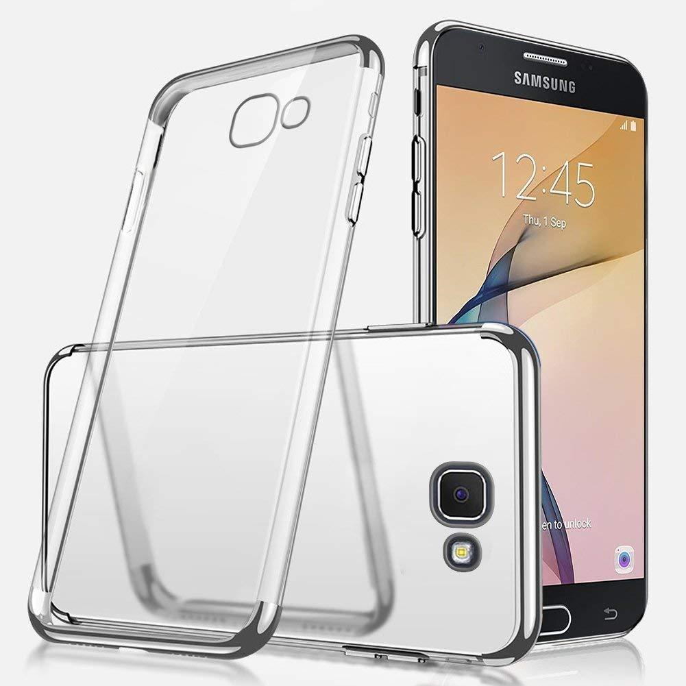 Crystal Clear Jinghuash Compatible avec Samsung Galaxy J5 Prime Coque Transparente Silicone Gel TPU /Étui Ultra Mince Slim Souple Placage TPU Housse Etui Anti-Scratch Antichoc Bumper Cover-Rouge