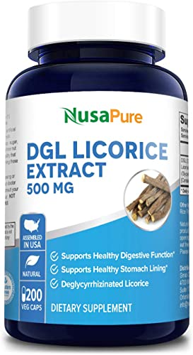 DGL Licorice Extract 500mg 200 Vegetarian Capsules Non-GMO Gluten Free – Supports Digestive Respiratory Function