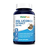 DGL Licorice Extract 500 mg 200 Veggie Capsules (Vegan,Non-GMO & Gluten-Free) - Supports Healthy Digestive & Respiratory Functions*