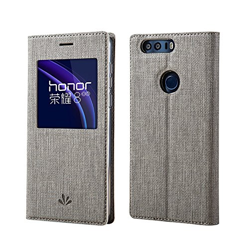 Price comparison product image Huawei Honor 8 Case, Meiya Premium Window View Automatic Sleep/Wake up Case Smart PU Leather Flip Cover Case Shell with Stand Function Strong Magnetic Closed For Huawei Honor 8 (Grey)
