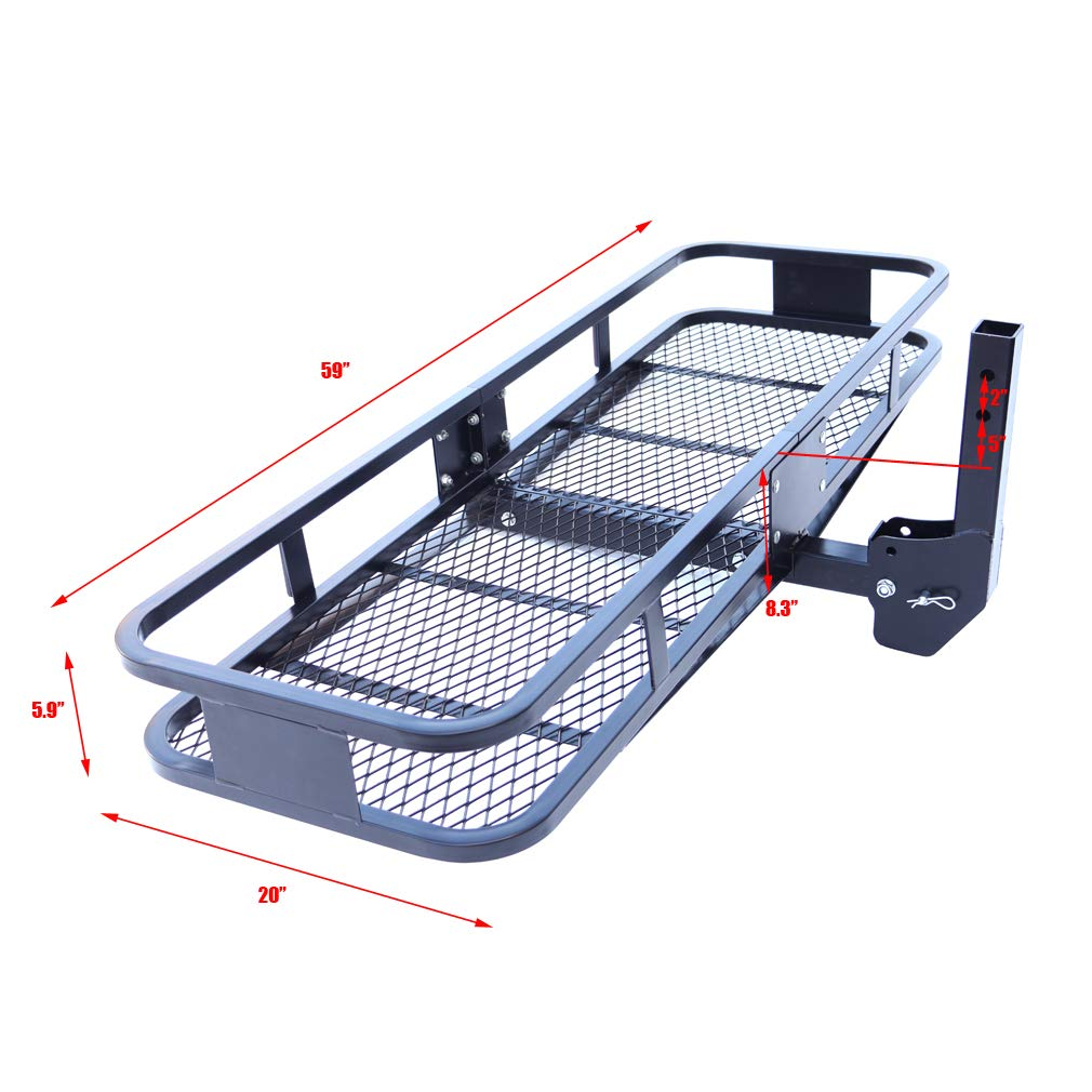 Hitch Mounted Cargo Basket 59 X 20 X 5.9 Folding Cargo Rack Hitch Mount Cargo Carrier With 500 Lb Capacity Fits 2 Receiver For Car Suv Pickups Oklead RS01B