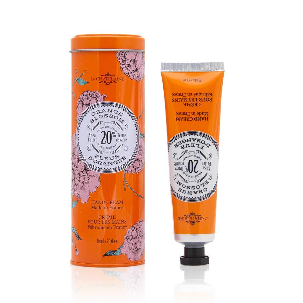 La Chatelaine Hand Cream Tin | 20% Organic Shea Butter, Argan Oil & Calendula | Moisturizing & Nourishing | 2.3 Oz (Orange Blossom)