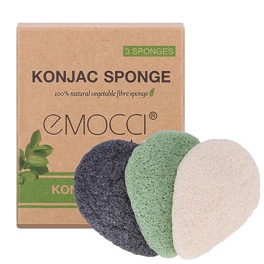 Konjac Facial Sponge Natural Activated Bamboo Charcoal Makeup Face Cleansing Exfoliating Sensitive Skin Compressed Powder Loofah Puff Body Bath Brush Gift Box Set (3pcs Pack)
