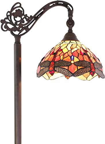 ELUZE Tiffany Style Reading Floor Lamp Stained Glass, Red Yellow Dragonfly Vintage Light 62 Inch Tall Antique Arched Base for Bedroom Living Room Study Lighting