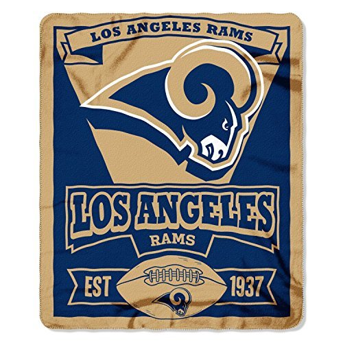 Officially Licensed Los Angeles Rams Marque Series Fleece Throw Blanket (50