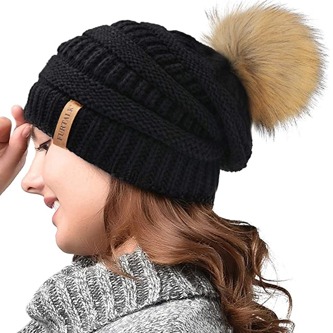 340c07fe744ea FURTALK Womens Winter Knit Slouchy Beanie Hat Warm Skull Ski Cap Faux Fur  Pom Pom Hats for Women