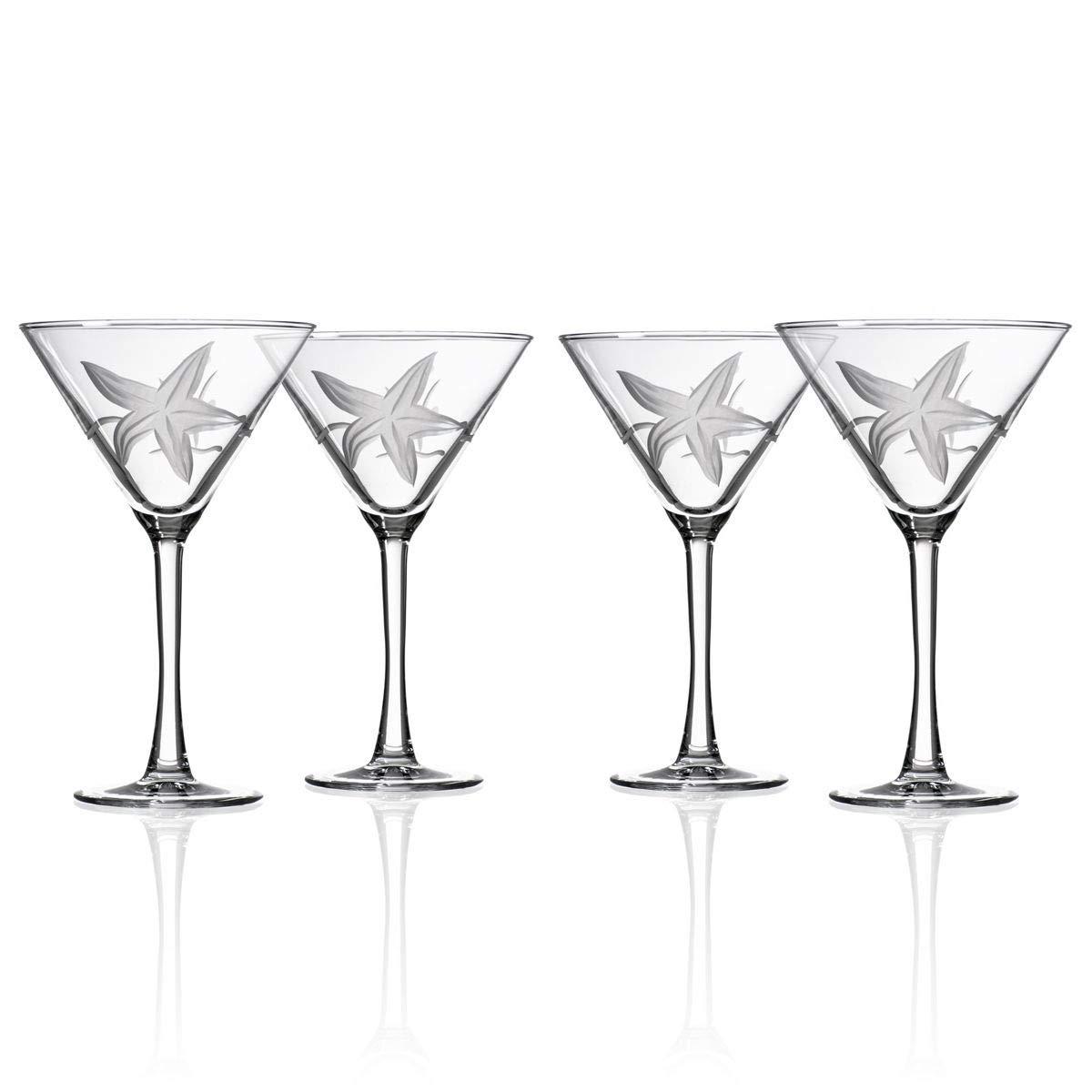 Rolf Glass Starfish Martini Glasses Set of 4, 10 Ounce