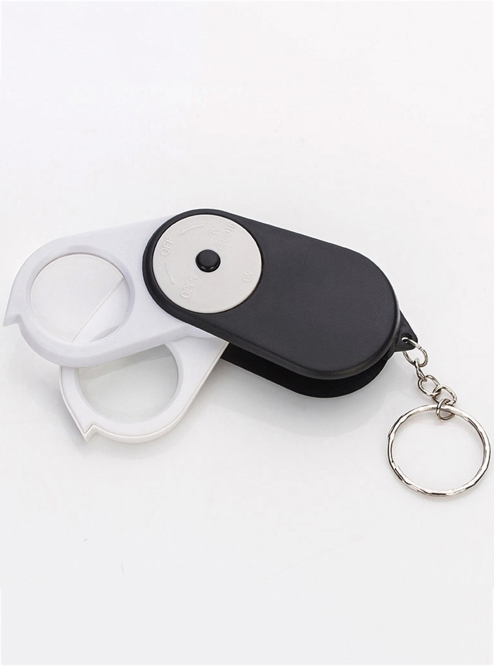 Snowmanna-New Button Switch Design 30X(Double Lens) 25mm Foldable Pocket Eye Loupe Magnifier Illuminant LED Lighting Magnifying Glass with Keychain-Black