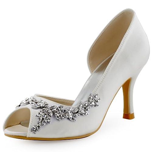 1fff0be8635ad ElegantPark Women Peep Toe Rhinestones Pumps High Heel Satin Evening Prom  Wedding Shoes